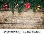christmas background with fir... | Shutterstock . vector #1256168308