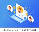 isometric interview with the... | Shutterstock .eps vector #1256173498