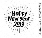 happy new year 2019 typography... | Shutterstock . vector #1256179705