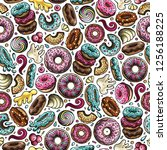 cartoon hand drawn donuts... | Shutterstock .eps vector #1256188225