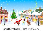 city street in the winter... | Shutterstock .eps vector #1256197672