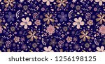 amazing floral vector seamless... | Shutterstock .eps vector #1256198125