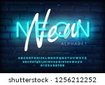 azure neon set glowing alphabet ... | Shutterstock .eps vector #1256212252