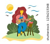 the girl plays the guitar... | Shutterstock .eps vector #1256215348