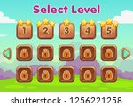 cartoon level selection game... | Shutterstock .eps vector #1256221258