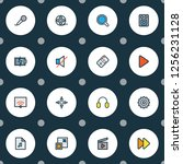 multimedia icons colored line... | Shutterstock .eps vector #1256231128
