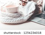 cozy home still life cup and... | Shutterstock . vector #1256236018