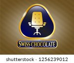 shiny emblem with office chair ... | Shutterstock .eps vector #1256239012