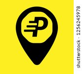 letter p and map pin. logo...