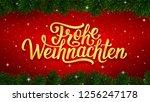 frohe weihnachten german merry... | Shutterstock . vector #1256247178