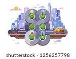 transport cross road hub on... | Shutterstock .eps vector #1256257798