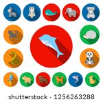 an unrealistic animal flat... | Shutterstock .eps vector #1256263288
