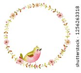 watercolor spring wreath with... | Shutterstock . vector #1256263318