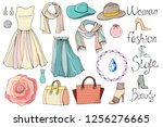 fashion set of accessories and... | Shutterstock .eps vector #1256276665