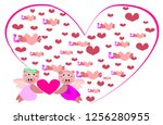 two cute animal  holding a... | Shutterstock . vector #1256280955