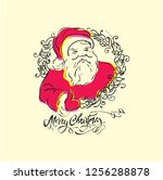 vintage merry christmas card ... | Shutterstock .eps vector #1256288878