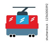 chair lift flat multi color icon | Shutterstock .eps vector #1256300392