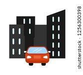 car in city flat multi color... | Shutterstock .eps vector #1256300398