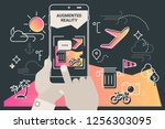 augmented reality city tourism... | Shutterstock .eps vector #1256303095