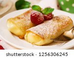 homemade cheese blintz  ... | Shutterstock . vector #1256306245