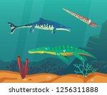 underwater dinosaur or... | Shutterstock .eps vector #1256311888