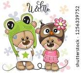 greeting card cartoon bears boy ... | Shutterstock .eps vector #1256339752