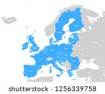 vector blue map of the european ... | Shutterstock .eps vector #1256339758