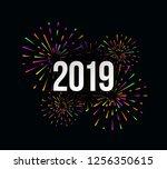 vector happy new 2019 year... | Shutterstock .eps vector #1256350615