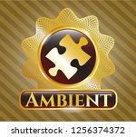 gold badge with jigsaw puzzle... | Shutterstock .eps vector #1256374372