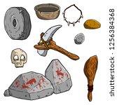 set tool prehistoric caveman... | Shutterstock .eps vector #1256384368