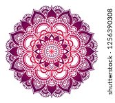gradient mandala. circle ethnic ... | Shutterstock .eps vector #1256390308