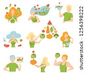 collection of people with... | Shutterstock .eps vector #1256398222