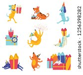 collection of cute dogs in... | Shutterstock .eps vector #1256398282