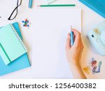 home office workspace mockup... | Shutterstock . vector #1256400382