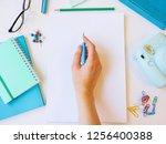 home office workspace mockup... | Shutterstock . vector #1256400388