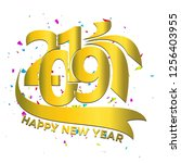 happy new year 2019.gold number.... | Shutterstock .eps vector #1256403955