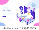 startup concept with rocket... | Shutterstock .eps vector #1256410555
