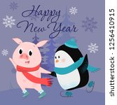 happy new year lettering with... | Shutterstock .eps vector #1256410915