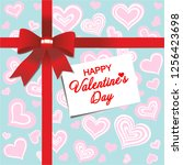happy valentines day. red gift ... | Shutterstock .eps vector #1256423698