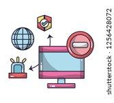 technology computing cartoon | Shutterstock .eps vector #1256428072