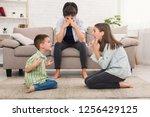 problems of motherhood. mom is...   Shutterstock . vector #1256429125