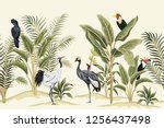 Stock vector tropical vintage bird parrot crane toucan palm tree banana tree and plant floral seamless 1256437498