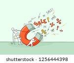 sketch of sale concept . doodle ... | Shutterstock .eps vector #1256444398