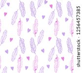 hand drawn vector feathers... | Shutterstock .eps vector #1256457385
