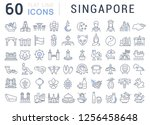 set of vector line icons of... | Shutterstock .eps vector #1256458648