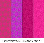 set of modern floral seamless... | Shutterstock .eps vector #1256477545