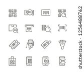 qr code related icons  thin...   Shutterstock .eps vector #1256488762