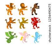 heraldic animal set. griffin ... | Shutterstock .eps vector #1256490475
