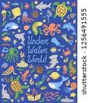 underwater world collection.... | Shutterstock .eps vector #1256491555