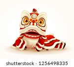 chinese new year lion dance.... | Shutterstock .eps vector #1256498335